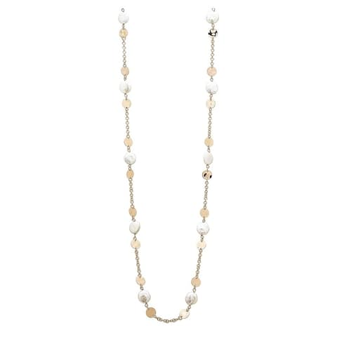 Forever Last 18 k Gold Overlay Stationed Coin Pearls & Discs Necklace