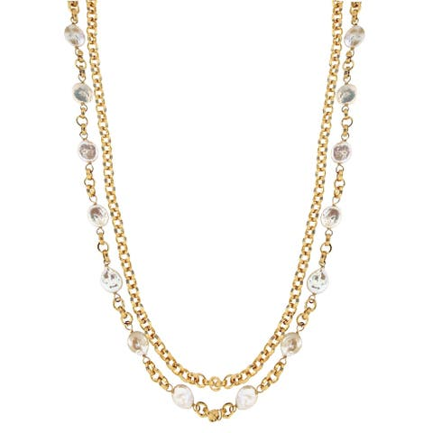 """Forever Last 18 k Gold Overlay 26"""" Double Strand Necklace"""