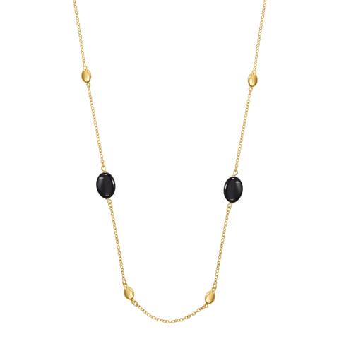 """Forever Last 18 k Gold Overlay 28"""" Long Rolo Link Beads & Onyx Necklace"""