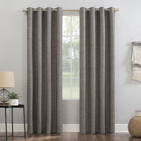 Sun Zero Kline Burlap Weave Thermal Extreme 100% Total Blackout Grommet Curtain Panel