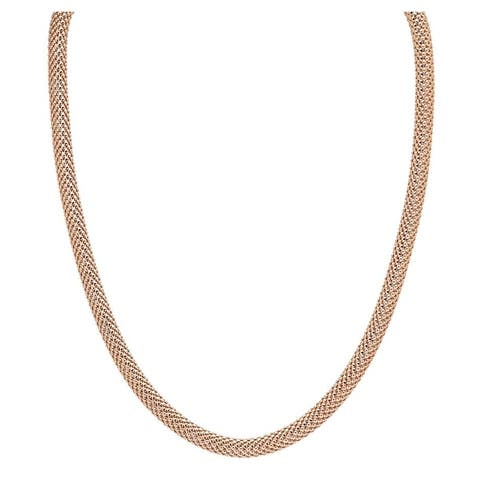 """Forever Last 18 k Gold Overlay 18"""" Round Mesh Necklace"""