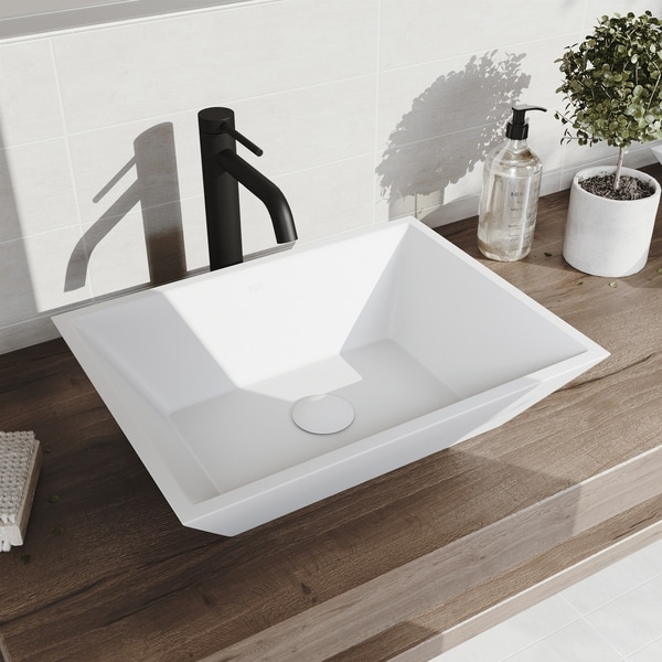 VIGO Vinca Matte StoneTM Vessel Bathroom Sink and Lexington cFiber Vessel Bathroom Faucet in Matte Black