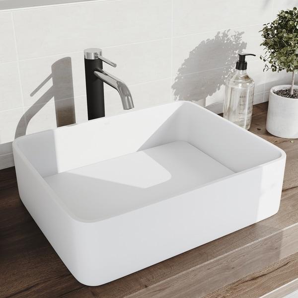 VIGO Jasmine Matte StoneTM Vessel Bathroom Sink and Lexington cFiber Vessel Faucet Set in Chrome