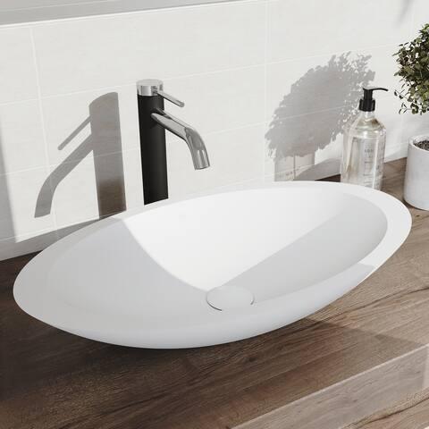 VIGO Wisteria Matte StoneTM Vessel Bathroom Sink and Lexington cFiber Vessel Faucet Set in Chrome