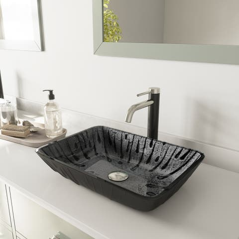 VIGO Rectangular Plutonian Glass Vessel Bathroom Sink and Lexington cFiber Vessel Faucet Set in Brushed Nickel Black