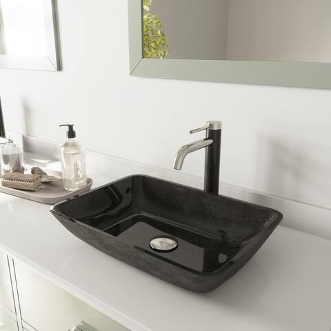 VIGO Gray Onyx Rectangular Glass Vessel Bathroom Sink Set and Lexington cFiber Vessel Faucet