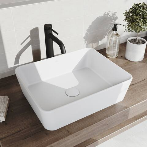 VIGO Marigold Matte StoneTM Vessel Bathroom Sink and Lexington cFiber Vessel Bathroom Faucet in Matte Black