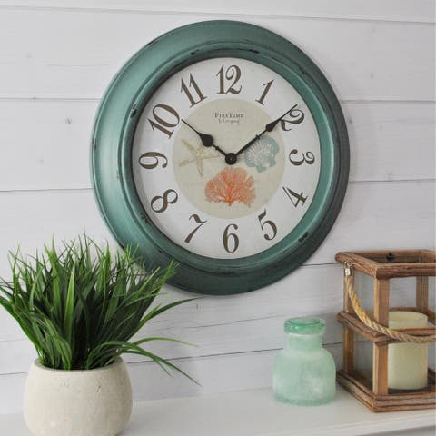 FirsTime & Co.® Turquoise Shells Wall Clock - 15.5""