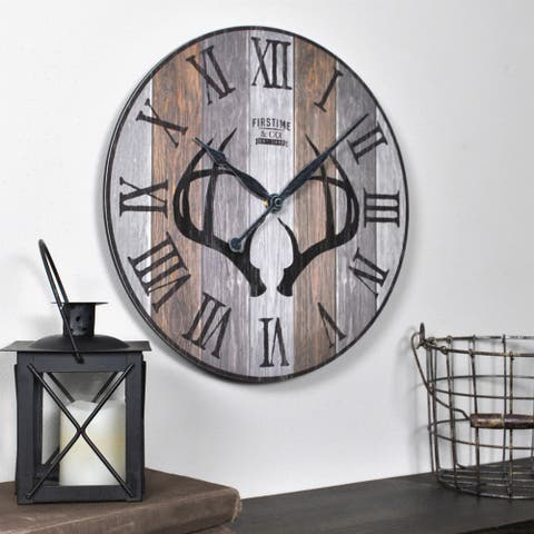 """FirsTime & Co.® Timber Antlers Wall Clock - 12"""""""