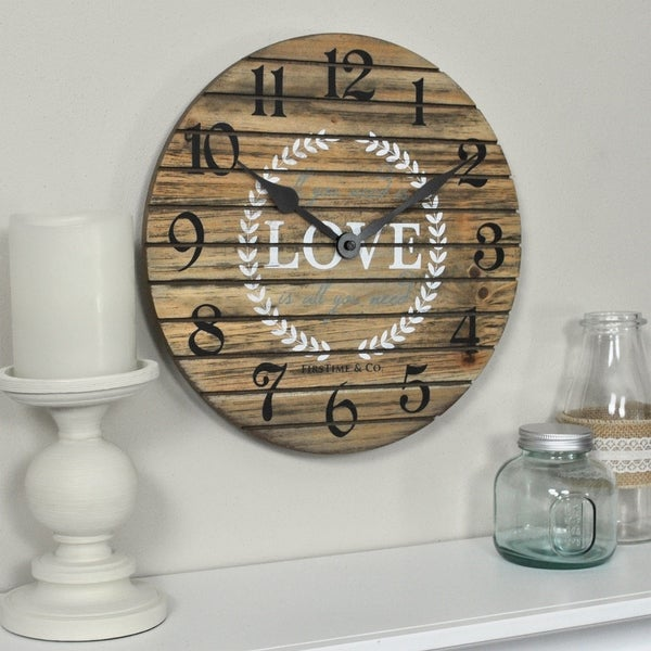 """FirsTime & Co.® Love Pallets Wall Clock - 12"""""""