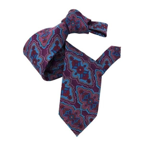 DMITRY 7-Fold Magenta Patterned Italian Silk Tie