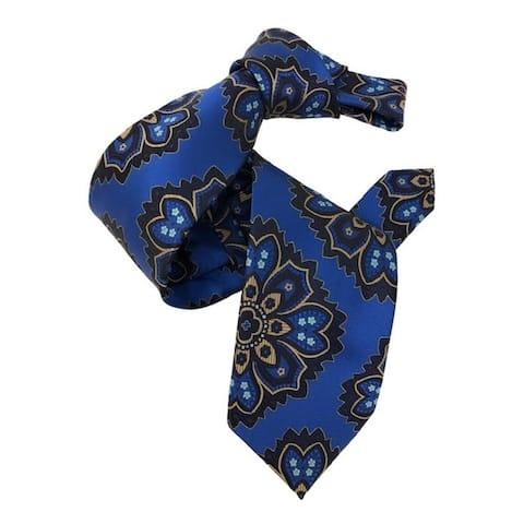 DMITRY 7-Fold Royal Blue Patterned Italian Silk Tie