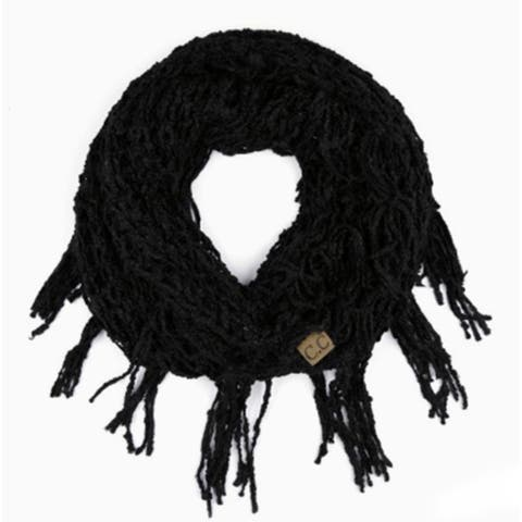 Womens CC Black Chenille Fringed Infinity Scarf