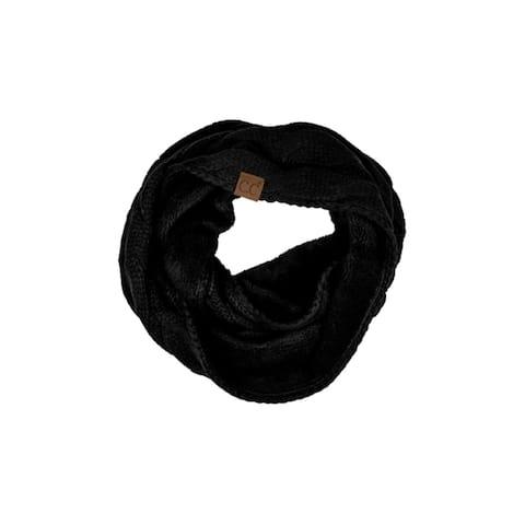 Womens CC Black Infinity Scarf Fuzzy Knit