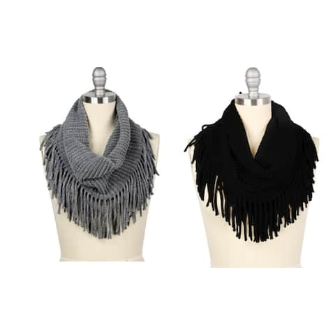 Womens Winter Knit Fringed Infinity Scarves