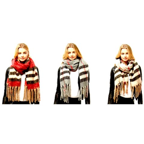 Womens Striped Oblong Fringed Winter Scarf