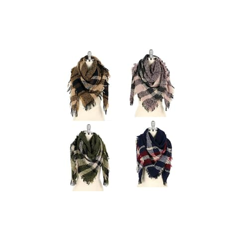Womens Winter Plaid Fringed Blanket Scarves
