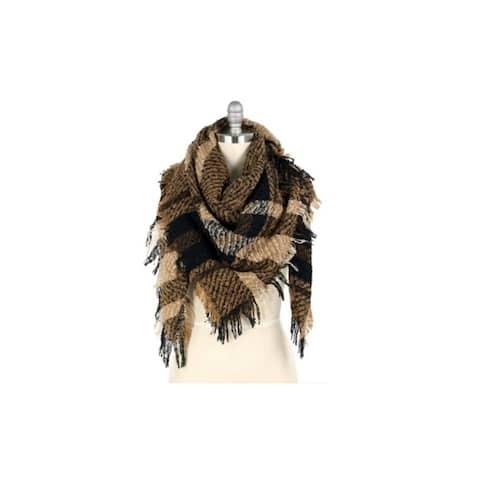 Womens Winter Plaid Fringed Blanket Scarves