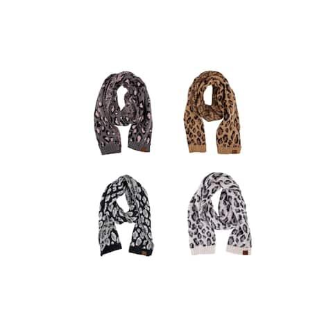 Womens CC Animal Print Oblong Knit Scarves
