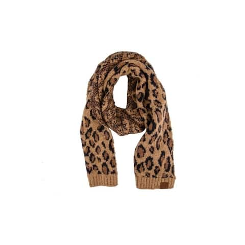 Womens CC Animal Print Oblong Knit Scarves