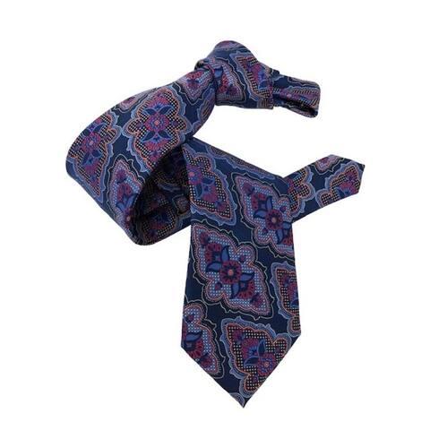 DMITRY 7-Fold Blue Patterned Italian Silk Tie
