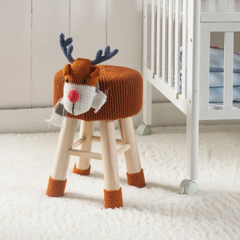 Taylor & Olive Modern Woven Brown Deer Ottoman Stool with Wooden Legs