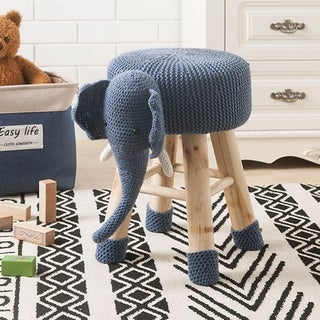 Link to Taylor & Olive Modern Woven Blue Elephant Ottoman Stool with Wooden Legs Similar Items in Kids' Ottomans & Gliders