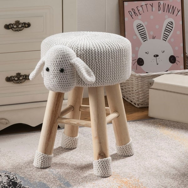 Taylor & Olive Modern Woven White Sheep Ottoman Stool with Wooden Legs. Opens flyout.