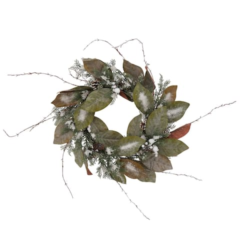 Frosted Wreath with Pinecone Design