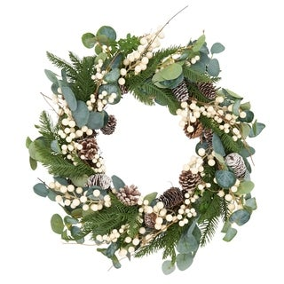 Spring Wreath With Eucalyptus And Pinecones