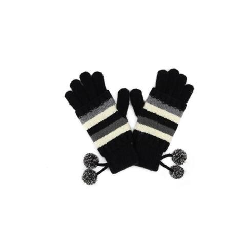 CC Womens Striped Gloves Pom Poms Touchscreen Fingertip