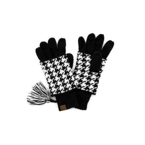 CC Womens Houndstooth Gloves Tassles Touchscreen Fingertip