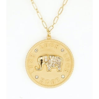 18K Gold Plated Sterling Silver Cubic Zirconia Elephant Coin Pendant Necklace On 18 Inch Link Chain With Lobster Claw