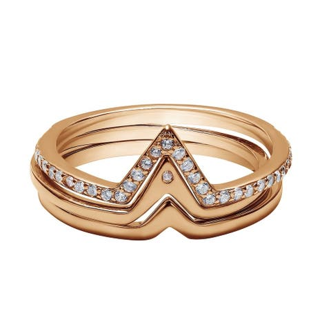 Rose Gold Plated Sterling Silver V Shaped Trio Ring Stack with Cubic Zirconia Chevron Stacking Rings