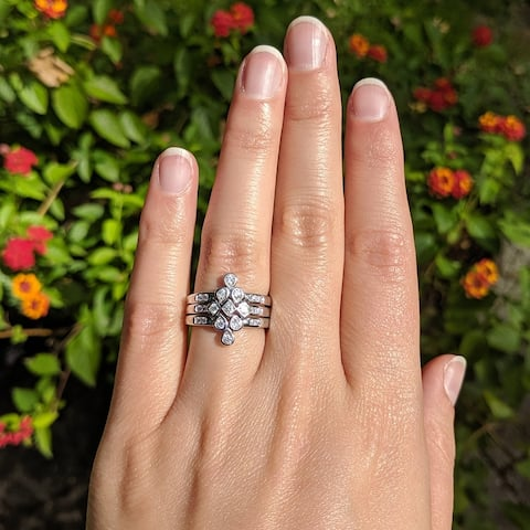 Sterling Silver V Shaped Round Trio Ring Stack with Cubic Zirconia Chevron Three Piece Dainty Puzzle Stacking Rings
