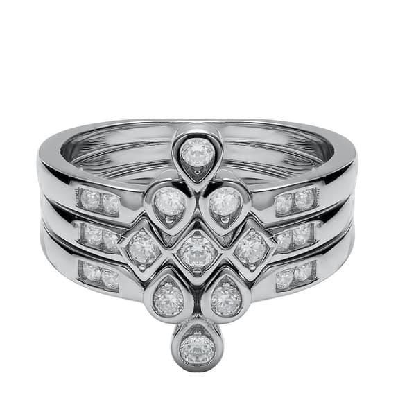 925 Silver Ring Chevron Diamond Ring Matching Stackable Band Stacking Diamond Ring V Shape Wedding Band Channel Set CZ Diamond Band