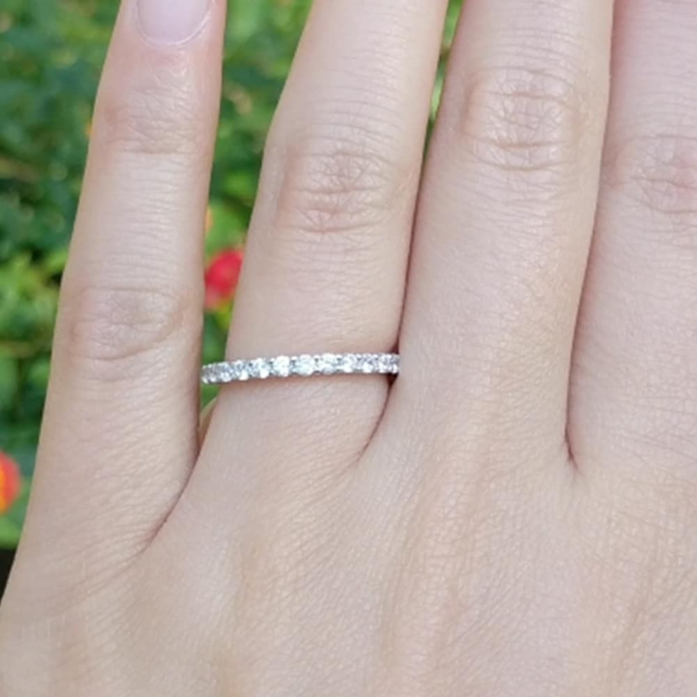 THIN STACKING C.Z Anniversary,Wedding Band Sterling .925 Sizes 4,5,6,7,8,9,10,