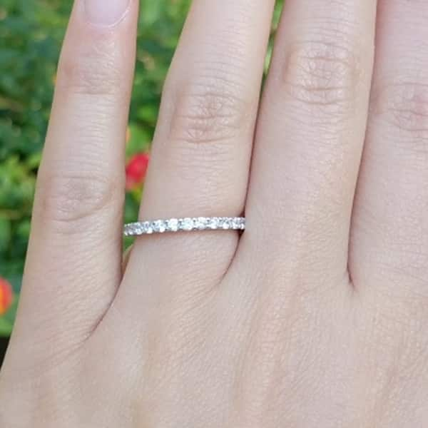 Simulanted Diamond In14K Gold Over Sterling Silver Silk Fit Eternity Band Ring