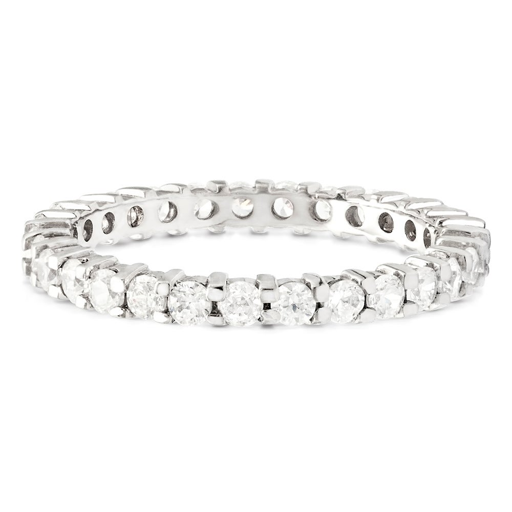 Multicolor CZ Simulated Diamond Stackable Ring Pave Eternity Bands for Women
