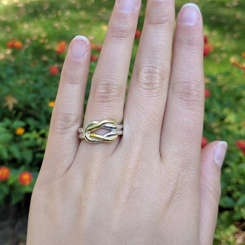 Solid Two-Tone Sterling Silver and 18k Yellow Gold Plated Wedding Ring Celtic Love Knot Promise Ring Love Knott Ring