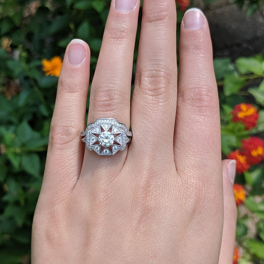Vintage Engagement Ring Vintage CZ Jewelry Size 8 Vintage Silver Cubic Zirconia Ring|Wedding Bands|Anniversary Gifts Large Stone Ring