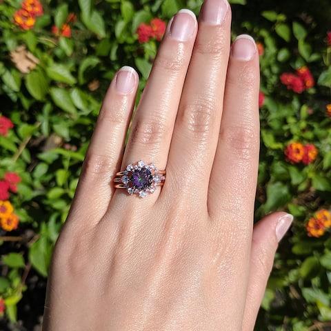 Rose Gold Plated Mystic Topaz Simulant CZ Floral Design Border Round Engagement Ring Bridal Set Trio Ring Stack