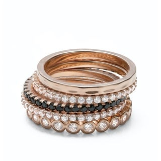 18k Rose Gold Plated 5 Eternity Stacking Ring Set - Five Ring Stacking Set -CZ Cool Stacking Set (Size 7)