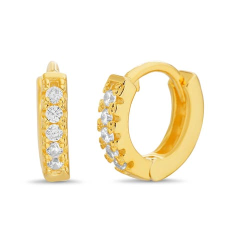 TwoBirch Round Prong Set CZ Cubic Zirconia Small Hoop Earrings for Women 14k Yellow Gold Plated Silver