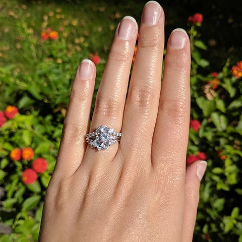 Floral Design Ying Yang Ring Guard and Engagement Ring Bridal Set (2 Rings) Cubic Zirconia White Gold
