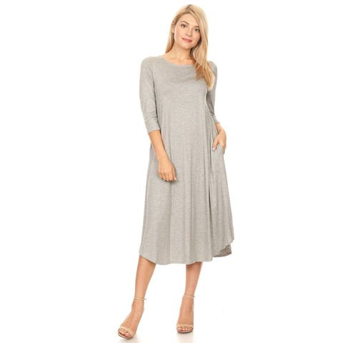 Casual Basic Solid Color 3/4 Sleeve Curved Hem Midi Dress