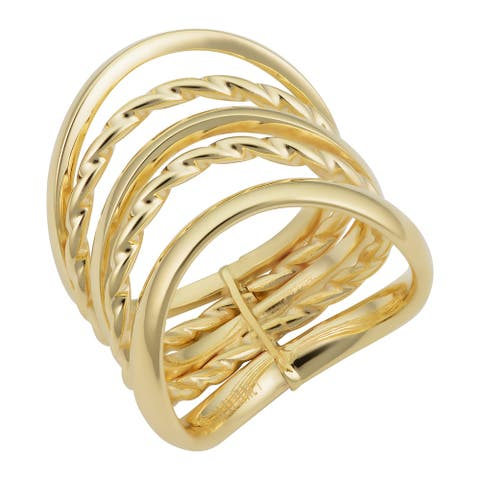 14k Yellow Gold Five-row Wave Ring