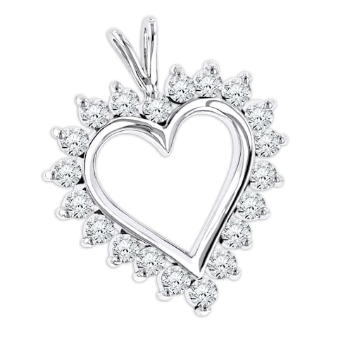 Luxurman 14k Gold Round Diamond Necklace Heart Pendant 1.4 ct with Chain