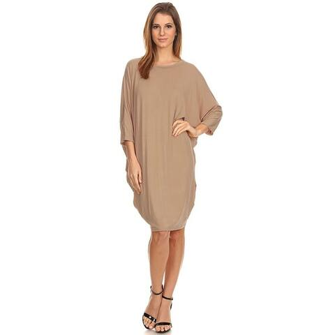 Solid Casual Sexy Relax fit Dolman 3/4 Sleeve Side Draped Midi Dress