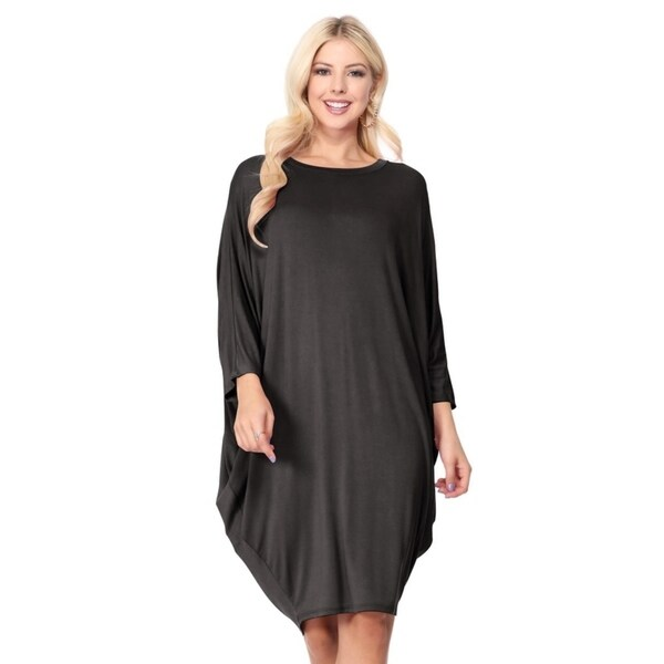 Solid Casual Sexy Relax fit Dolman 3/4 Sleeve Side Draped Midi Dress. Opens flyout.